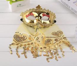 Actuación de danza del vientre online-Mascarada Máscara Chica Sexy Venetian Belly Dance Veil Máscara Baile Rendimiento Uniforme del juego Máscara sexy con velo
