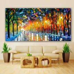 Luz de pintura a óleo on-line-Pintura em tela Paisagem Poster Walling In Rain Light Estrada Pintura A Óleo Parede Arte Da Parede Fotos para Sala de estar Decoração de Casa