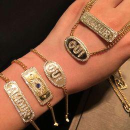 2019 pulsera sherlock Mujeres de la manera pulsera de oro amarillo plateado CZ Cartas collar de las pulseras del nuevo verano de Gilrs de Mujeres para la fiesta de boda del regalo caliente para los amigos