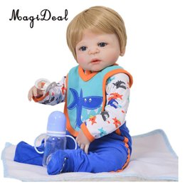 Adorável 22-23 '' Baby Doll Outfit Set Manga Comprida Romper Azul Calças Meias e Bib Para Reborn Dolls Dress Up supplier long socks pants de Fornecedores de calcinha comprida