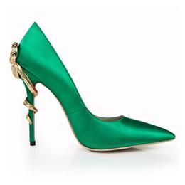 Canada 2019 Nouveau Incroyable Vert Satin Chaussures De Mariage 3.9 Pouce Talons Haut De Luxe Élégant Chaussures De Mariée En Cuir Véritable Parti Pompes Sandales Chaussures Offre