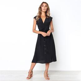 5992fdf0875 DHL Women s Dresses-Summer Sleeveless Floral Bohemian Spaghetti Strap  Button Down Swing Midi Dress with Sashes