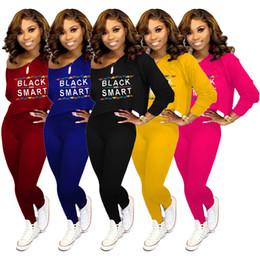 Camicia di pantaloni neri online-Tute da donna eleganti nere Felpe con spalle scoperte Felpa a maniche lunghe Pullover T-Shirt Pantaloni Leggings Abiti Sportswear S-XXL