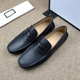 Loafer elegantes sapatos casuais on-line-Mens Designer Loafers motorista sapatos de luxo Deslizamento-em couro Barco Flat Shoes For Men Sapato Casual sapatilha elegante online grátis