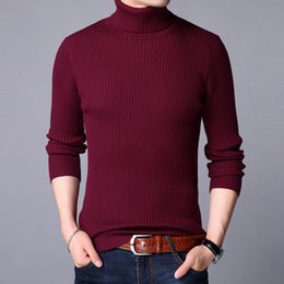 eb4fc4dd30 MRMT 2018 Brand Fall Winter Men s Knitted Sweater Young High-collar Knitted  Bottom Shirt for Male Pure-color Sweater Clothing