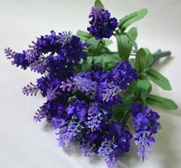 Flores artificiais para vasos on-line-Novo Design 10 pçs / lote Artificial Lavender Silk Flowers Bouquet Flores Artificiais Decorativas para Festa de Casamento Decoração de Casa (sem vaso)