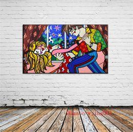 Noite Romero Britto Estrela, Peças de Lona Decoração de Casa HD Impresso Pintura de Arte Moderna na Lona (Sem Moldura / Emoldurado) de Fornecedores de pintura a óleo figura feminina