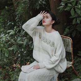 Handgefertigte pullover online-fall2019Women Autumn Beiläufige Ultra Loose Modis Lazy Style Übergroße Shiny Silver Handmade Perlen Pullover Short Knitted