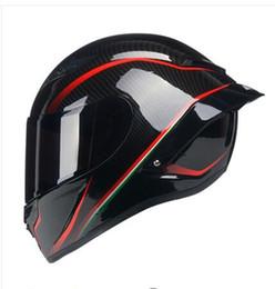 Casques carbone en Ligne-Casque intégral de casque de moto sécuritaire noir / rouge avec aile arrière, peinture carbone, casque de course ECE R22
