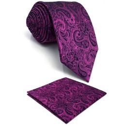 longues robes de mariée en soie pourpre Promotion Purple Paisley Mens Cravate En Soie De Mode Designer Robe De Mariée De Poche Carré Marié X-long