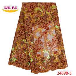 Tecido organza para vestidos de noiva on-line-Organza Francês Nigeriano Lantejoulas Tecido de Renda 2019 de Alta Qualidade Tecido de Renda Africano Do Casamento Francês Rendas De Tule Para O Vestido XY2489B-5