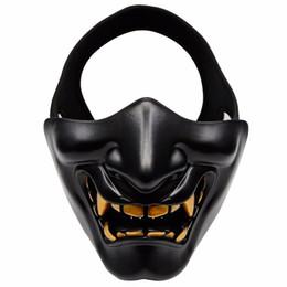 airsoft halbmasken Rabatt Halbes Gesicht Airsoft Maske Halloween Kostüm Cosplay BB Evil Demon Monster Kabuki Samurai Hannya Oni Halbe Abdeckung Prajna Masken