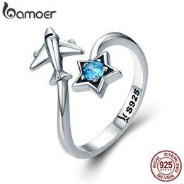 anéis planos de prata Desconto BAMOER 100% 925 anéis Sterling Silver Star Tours na moda da estrela Plane fêmeas para as Mulheres Sterling Silver Jewelry Anel SCR322