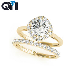 anillos de boda de diamantes amarillo conjuntos Rebajas QYI 10K Conjuntos de anillos de oro amarillo sólido de las mujeres corte redondo 1 ct Sona joyería de diamante simulado Halo Compromiso Wedding Bands
