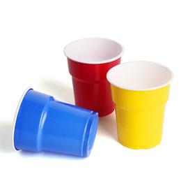 Vasos desechables coloridos online-60pcs / lot 7oz Desechable Food Grade PP Plastic Cup Colorful Travel Cup Home Office Beber cerveza Agua Café Juice Cup Party Supplies