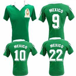 Maillots mexico équipes en Ligne-1986 Coupe du monde de football maillot rétro Mexique 86 Mexique équipe nationale Hugo Sanchez Negrete chemise de football vintage classique
