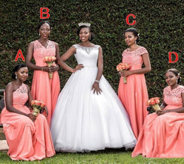 coral bridesmaid watermelon dresses Promo Codes - South African Watermelon Bridesmaids Dresses Elegant Mixed Style Neckline Lace Appliques Chiffon Maid of Honor Gowns Custom Made