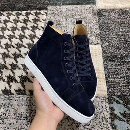Темно-синий замша кожаные кроссовки обувь улучшенный комфорт красный низ обувь для женщин, мужчин высокого верхнего хорошего качества Повседневная обувь для ходьбы от
