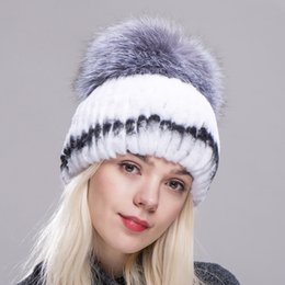 Fxfurs Winter Rex Rabbit Adult Fur Hat For Women With Fox Pom Poms Top Knitted  Beanies Hats New Brand Causal Good Quality Caps 0f46bb44eed1