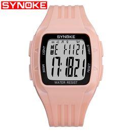 Ha condotto la visualizzazione in esecuzione online-SYNOKE Men Fashion Sport Orologio elettronico da donna Running Man LED Display Water Resistant Digital Wristwatches Orologio luminoso