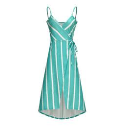 Vestidos de mujer 2019 Verano Nuevo Casual V-cuello Slip Dress Moda Twill Falda apretada Cinturón atractivo Falda larga a rayas 4 colores Tamaño S-XL desde fabricantes