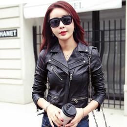 2019 neue Entwurfs Frauen Lederjacke Umlegekragen Schlanke schwarze Frau Outwear Mantel Damen mit Gürtel Jacken