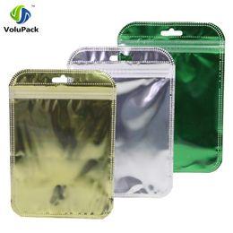 bolsas de papel de aluminio al por mayor Rebajas 10x15cm (4x6in) Claro brillante hoja de oro verde de plata agujero de la caída bolsas zip mayor 100pcs plana regalo Zip Lock paquete de la bolsa