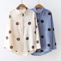 рабочая одежда для женщин Скидка Fashion Polka Dot Print Women Chiffon Shirts Formal Work Ladies Blouses Long Sleeve Turn-down Collar Shirt Tops Women Clothes