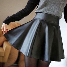 3cc84bafd1a 2019 faux cuir plissé jupe Femmes Sexy Mince PU Jupe Taille Haute Court  Mini Jupe Plissée