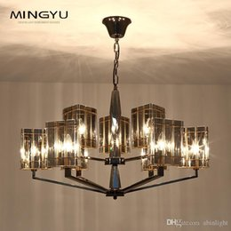 candeeiro suspenso de gaiola Desconto Pós-moderno Art Glass Chandelier Smoke vidro Grey Simple Light Luxo Lâmpadas Pingente Moda Hardware galvanoplastia candelabro Foyer Ceililng