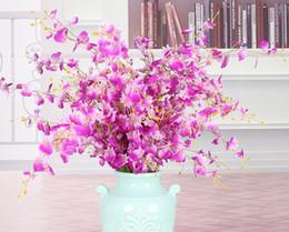 Argentina Orquídeas amarillas flores artificiales falso Dama Señora Orquídea Flor de seda Decoración de la boda en casa Tallo largo con pétalos centros de mesa de flores Suministro