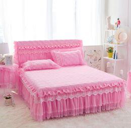 Кружева оборками покрывало кровать юбка романтический свадебные постельные принадлежности девушки подарок постельное белье наматрасник эластичная кровать балдахин 1шт-розовый-полный от