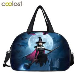 Bolso de gato negro online-Fantasía bruja / gato negro / impresión de hadas bolsas de viaje bolsa de almacenamiento multifuncional bolso de las mujeres totes ocasionales bolsa de viaje bolsa de viaje