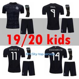 Novo México kids kit futebol Jersey 19 20 em casa preto CHICHARITO G.DOS SANTOS M.LAYUN A.GUARDADO C.VELA 2019 2020 conjunto de menino uniforme de futebol cheap mexico uniform kit de Fornecedores de kit uniforme méxico