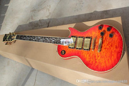 Инкрустация пламенем гитары онлайн-Высочайшее качество Shell Flame Inlay H-H-H 3 датчика lp Earth logo Электрогитара золотая фурнитура