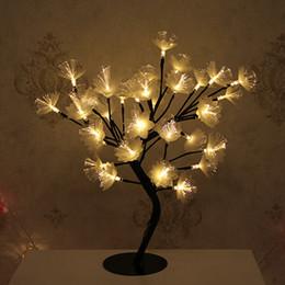 Lâmpadas de fibra óptica on-line-Ins LED Árvore Quarto Decor Desk Lamp Branco Fibra Óptica Sala Decorar Romântico Lâmpadas de Mesa Presente Do Dia Dos Namorados 39 5xbD1