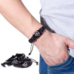 Bracelets unisexes personnalisés en Ligne-1 PC Chaude Personnalisé Belle Abeille En Cuir Bracelets À La Main À Lacets Réglable Punk Hommes Unisexe Charme Bracelet