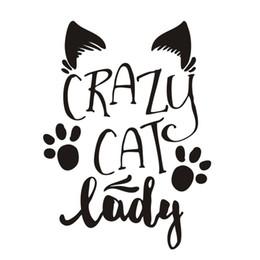 2019 decalques do carro da senhora pára-brisa Crazy Cat Lady decalques Art Car Rear texto Decor Bumper bonito Padrão Waterproof Vinyl Car Decal L413 decalques do carro da senhora barato