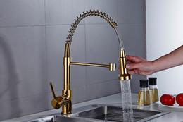 Luxus küchenarmaturen online-Herausziehen Küchenarmatur Zapfhahn Schwenkauslässe Ausziehbarer Frühlingsmischer Herunterziehen Küchenspüle Wasserhahn Luxus Wasserhahn für die Küche Gold