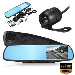 Examen des caméras en Ligne-Livraison Gratuite 4 Pouce Voiture DVR Caméra Review Mirror FHD 1080 P Enregistreur Vidéo Vision Nocturne Dash Cam Parking Moniteur Auto Registrar Double Objectif DVR