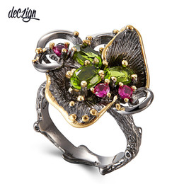 stone coats Coupons - Deczign 2019 New Arrive Vintage Women Flower Rings Hot Pick Black Gold Coated Chic Jewlery Ring Party Must Have WA11669