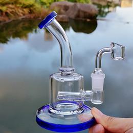 mini bong inline perc Desconto 6 Inch Mini Dab Rig colorido Vidro Grosso Bongs inline Perc Água Pipes 14 milímetros Conjunto plataformas de petróleo pequeno Bong Com quatro milímetros de quartzo Banger