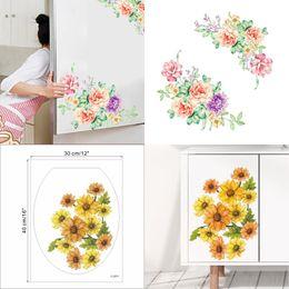Çiçekler Buzdolabı Çıkartmalar PVC Şakayık Buzdolabı Çıkartmalar Ayçiçeği Dolap Tuvalet Banyo Yapışkanlı Kağıt PVC Banyo Dekorasyon cheap sunflowers stickers nereden ayçiçeği çıkıntıları tedarikçiler
