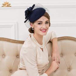 2020 Kış Şık Lacivert / Siyah / Çıplak Renk Bayanlar Parti Akşam Biçimsel Şapka Batı Ülke Kadınlar headpieces Kentucky Derby Şapkalar nereden