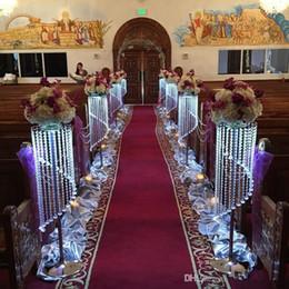 Lampadari da tavolo online-Vendita di Bulk Sparkling cristallo trasparente ghirlanda lampadario torta nuziale stand forniture festa di compleanno decorazioni per centrotavola