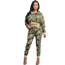 a6ff82083df Camo Print Women Tracksuit Long Sleeve Hooded Sweatshirts Crop Top  Drawstring Fitness Pants Casual Two Piece Set Outfits