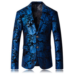 suit blazers pattern Promo Codes - Mens fashion Dance Blazer Coats 2019 Male pattern Business affairs Wedding Stage Long sleeve Suit Jackets Slim coat M-5XL