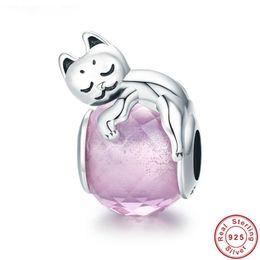925 Sterling Silver Pink Esmalte Bonito Sleepy Sonhando Pequeno Gato Charme fit Pandora Pulseira Feminina Beads Jóias Fazendo de Fornecedores de encantos do gato para pandora pulseiras