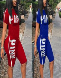 yoga summer shorts Promo Codes - Fashion Pink Letter Clothes Women Tracksuit Sports Suits Shirts + Pants T Shirts Shorts Sets Yoga Gym Tracksuit 2pcs set Summer