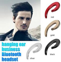Cuffia avricolare bluetooth senza fili di sport rosso online-Auricolare Bluetooth da appendere all'orecchio senza fili Auricolare Bluetooth Y-12 a conduzione ossea rotonda Cuffie stereo argento nero rosso
